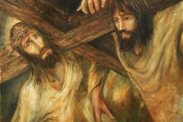 Simon of Cyrene helps carry the cross